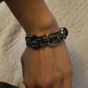 Inapirational leather bracelet